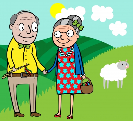 old happy couple: Cartoon vector illustration of happy old couple celebrate Easter