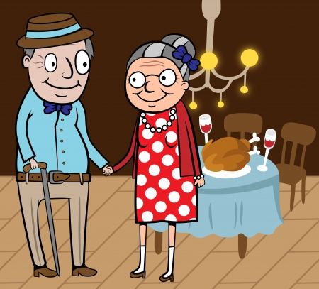 retirement home: Cartoon vector illustration of happy old couple celebrate thanksgiving day at home