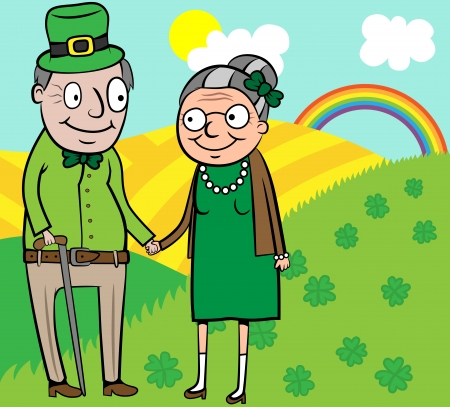 Cartoon vector illustration of happy old couple on St Patrick day Иллюстрация