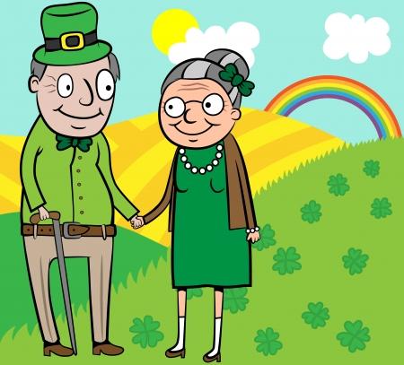old happy couple: Cartoon vector illustration of happy old couple on St Patrick day Illustration
