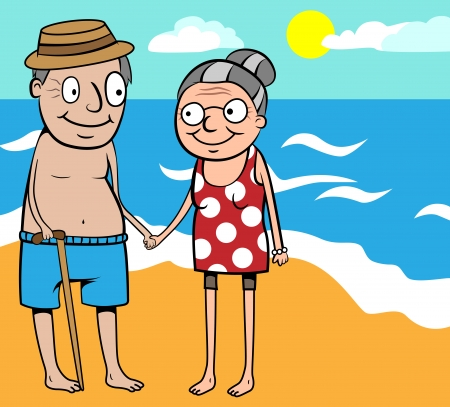 Cartoon vector illustration of happy old couple on summer holiday by the sea on beach