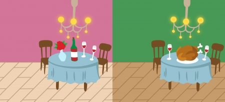 Cartoon vector illustration of Valentine and thanksgiving home background templates Vector