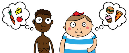 suffer: Cartoon vector illustration of skinny hungry poor African child and happy overweight wealthy Caucasian child Illustration
