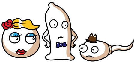 精子、卵、コンドーム、安全なセックスのコンセプトの漫画ベクトル イラスト  イラスト・ベクター素材