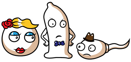 Cartoon vector illustration of a sperm, egg and condom, safe sex concept