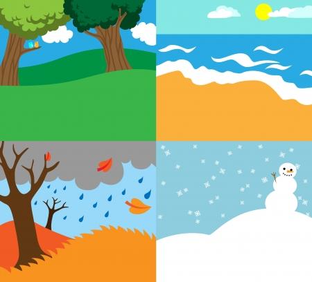 4 シーズンズ自然バック グラウンド テンプレートの漫画ベクトル イラスト