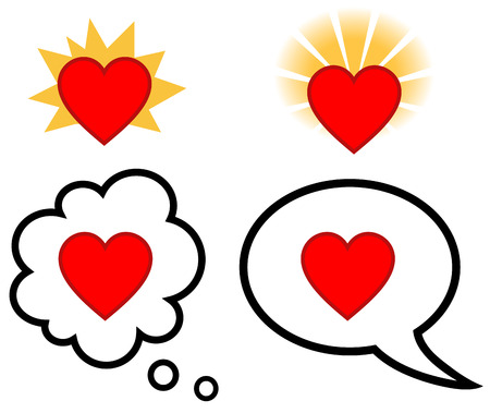 talk balloon: Vector illustration of Speech and thought bubble with heart symbol, love or faith concept