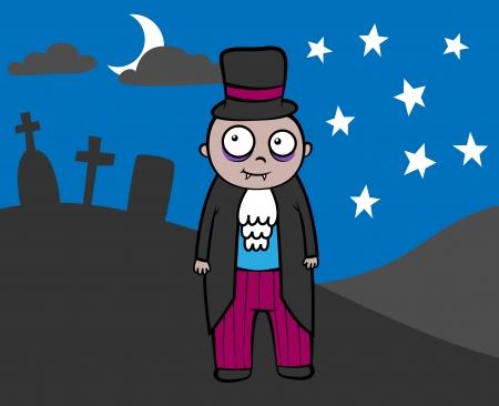Cartoon vector illustration of cute vampire in graveyard on Halloween Vector