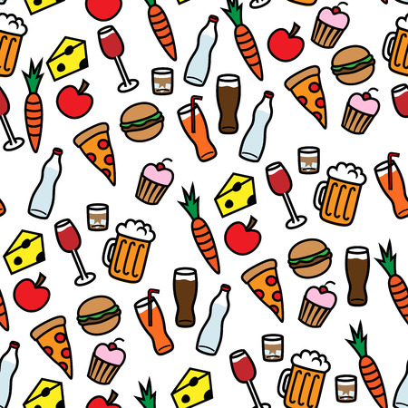 Cartoon vector illustration of seamless background pattern with food and drinks Vector