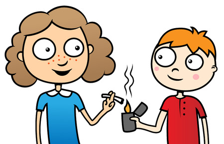 school age: Cartoon vector illustration of young children smoking a cigarette