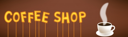 Cartoon vector illustration of coffe shop neon text sign with cup