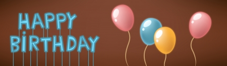 Vector illustration of neon happy birthday text sign with balloons Ilustração