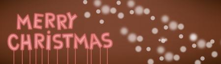 漫画のメリー クリスマス テキスト ネオンのベクトル イラスト雪印