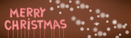 Cartoon vector illustration of merry christmas text neon sign with snowflakes Иллюстрация