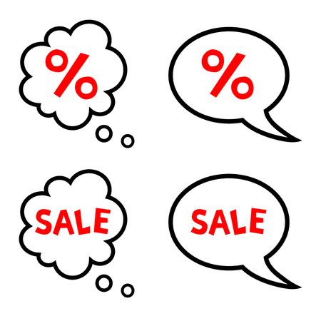 Vector illustration of cartoon speech and thought bubbles with sale and percent symbol