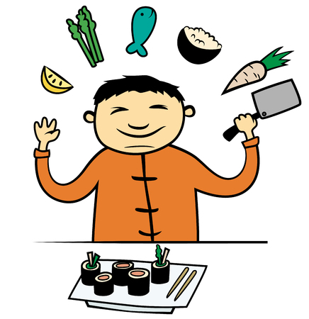 Cartoon vector illustration of Asian chef cooking food Ilustração