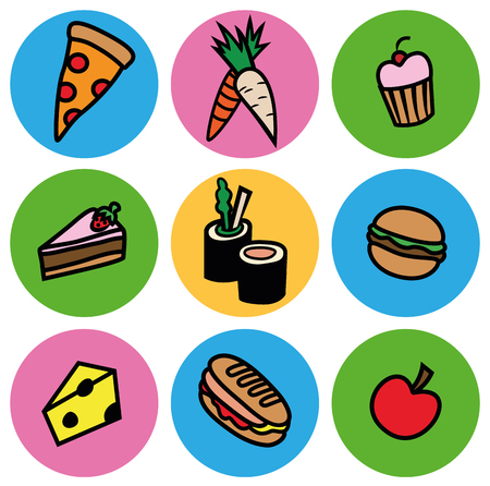 Cartoon vector design illustration of food icons in circles set