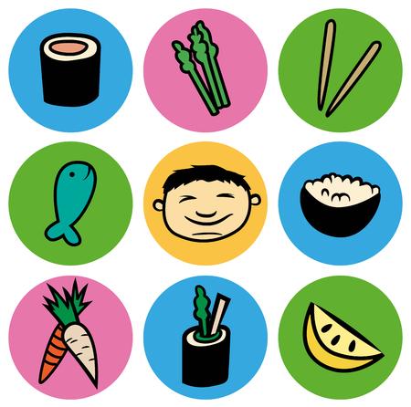 漫画は、ベクトル円セットでアジア食品のアイコンのイラストをデザイン