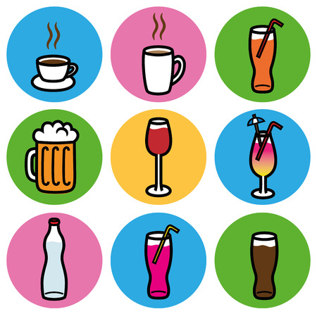 Cartoon vector design illustration of alcoholic and non alcoholic drink icons