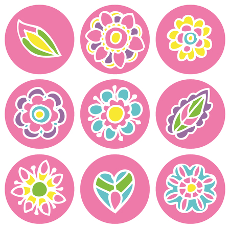 Flower icons in circles set 일러스트