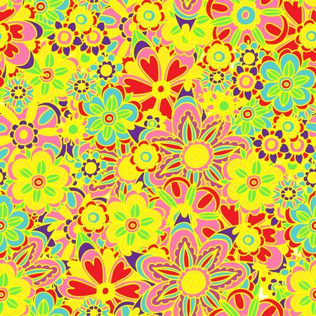 ベクトル カラフルな楽しい花のイラスト デザインのシームレス背景