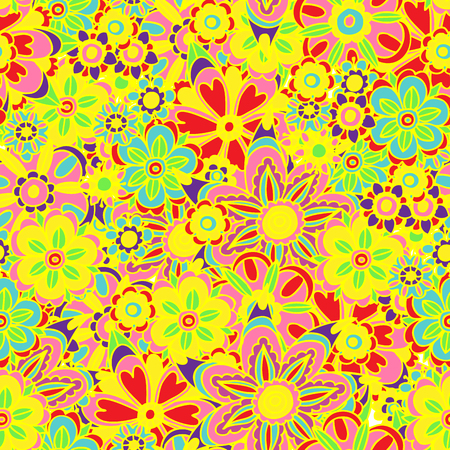 Vector illustration of colorful fun floral design seamless background