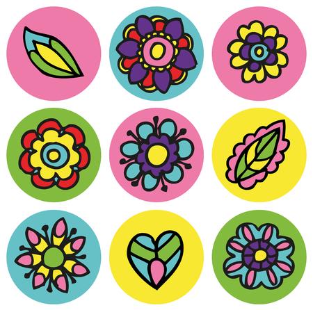 ベクトル円セットの花アイコン