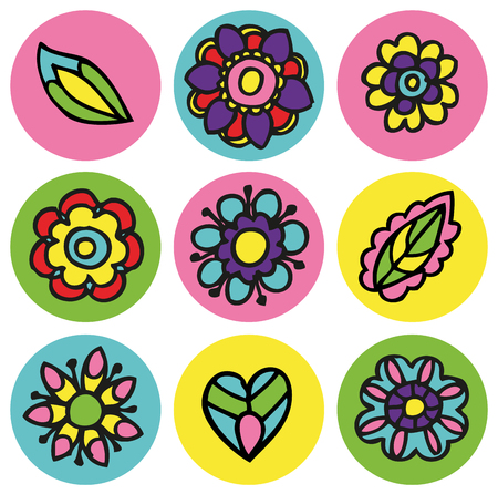 Vector floral icons in circles set