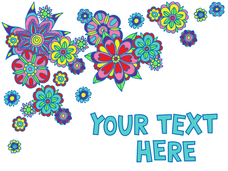 Vector illustration of colorful fun floral design template with space for text