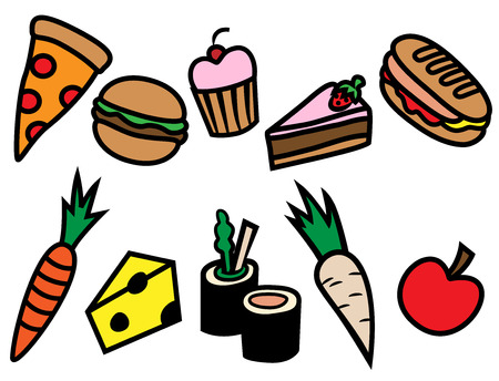 Cartoon vector illustration of different types of food, healthy and unhealthy, set, collection.