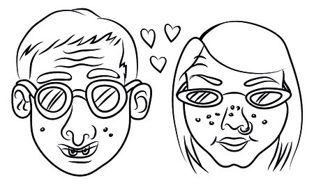 Cartoon vector illustration of nerd couple 일러스트