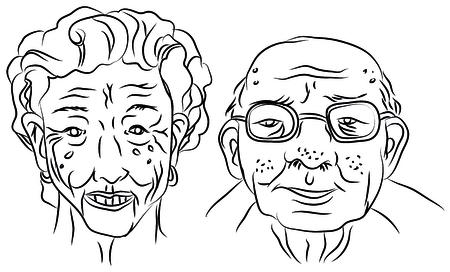 漫画ベクトルは、老人と女性の肖像画のイラストをデザイン