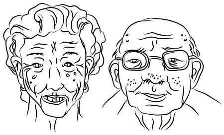 Cartoon vector design illustration of an old man and woman portrait 일러스트
