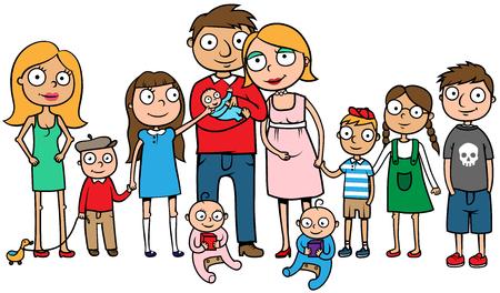 大家族の漫画ベクトル イラスト  イラスト・ベクター素材