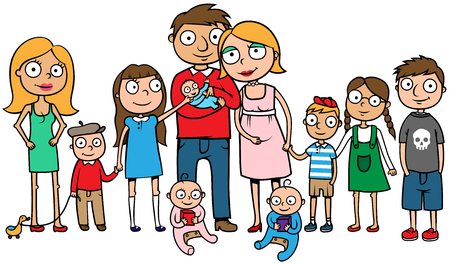 Cartoon vector illustration of a large family