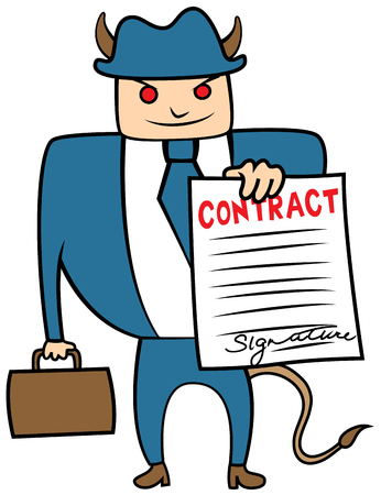 Cartoon vector illustration of an evil devil businessman with a contract, loan shark collector