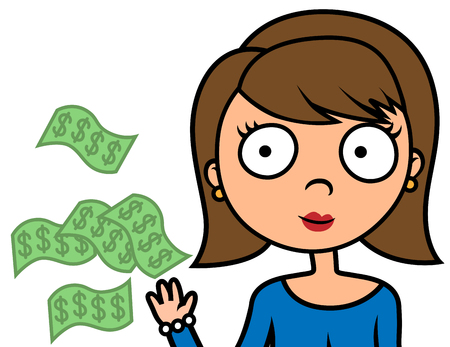 Cartoon vector illustration of woman spending or wasting money