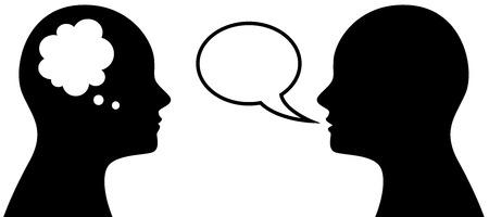 Ilustracja wektorowa ludzi, którzy myślą i mówią, symbol lub ikona głowy z bańki myśli i mowy