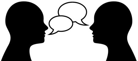 Vector illustration of two people talking face to face, communication concept