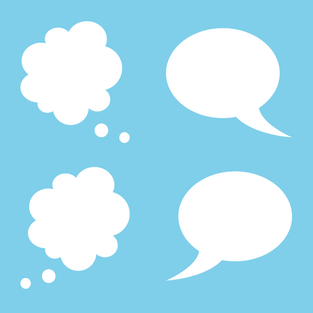 Vector illustration of cartoon speech and thought bubbles set