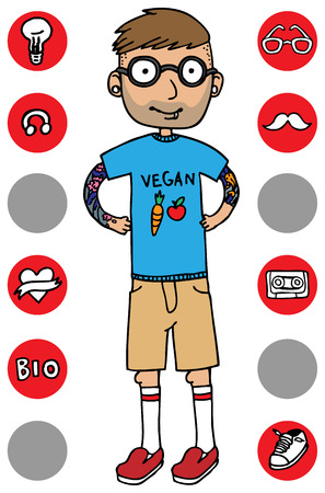 Cartoon vector design illustration of hipster boy with icons