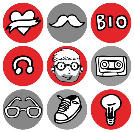 Cartoon vector design illustration of hipster, nerd icons in circles set