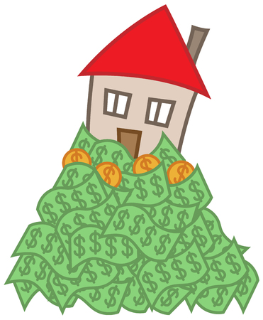 Simple cartoon house on top of money, mortgage debt concept 일러스트