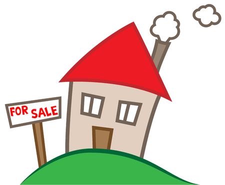 不動産ビジネス コンセプト、販売のための家のシンプルな漫画イラスト  イラスト・ベクター素材