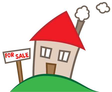 Simple cartoon illustration of a house for sale, real estate business concept Illustration