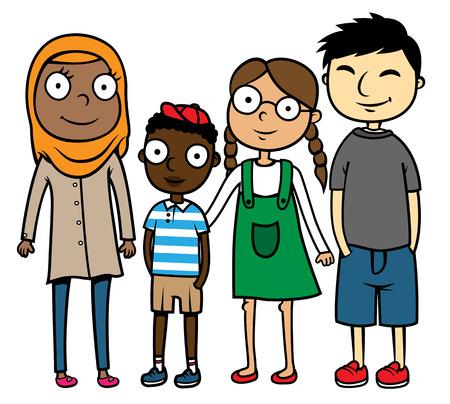 幸せの多文化、多民族の友人、多様性概念の漫画ベクトル イラスト