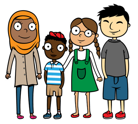 Cartoon vector illustration of happy multicultural, multiracial friends, diversity concept