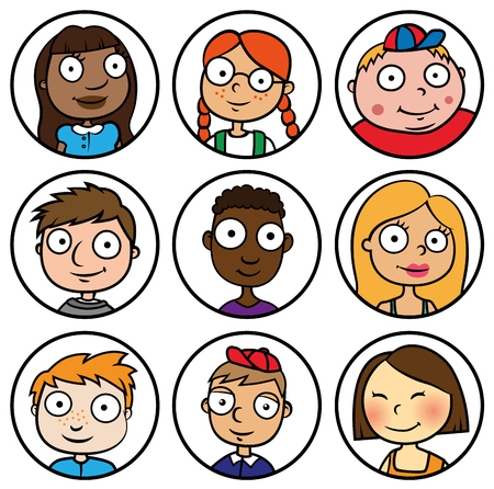 Cartoon Vector Illustration of children in front of icons, different ethnicity concept