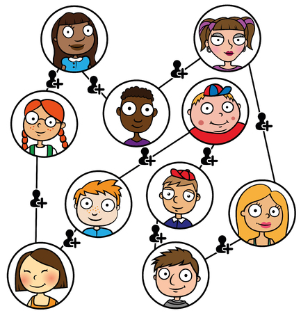 Cartoon vector illustration of children who communicate and make friends through social media network