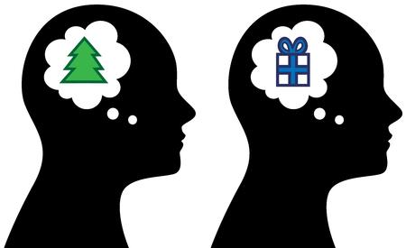 クリスマスについての思考や音声のバブル思考で人の頭のベクトル イラスト  イラスト・ベクター素材